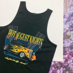 Black 90s Hot August Nights Car Muscle Tank XL
